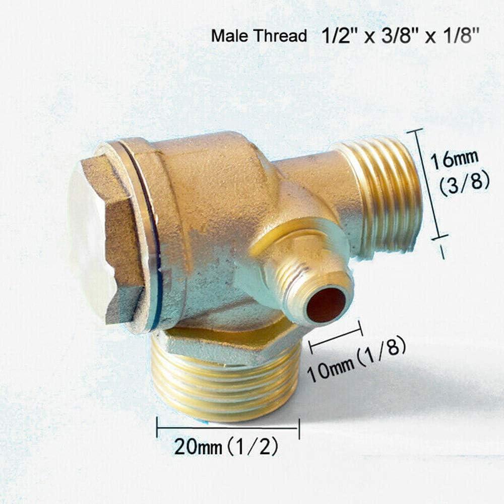 Air Compressor Check Valve Threaded Check Valve Brass 3-Port Tube Connector Tool Female 1//2*1//2*1//8