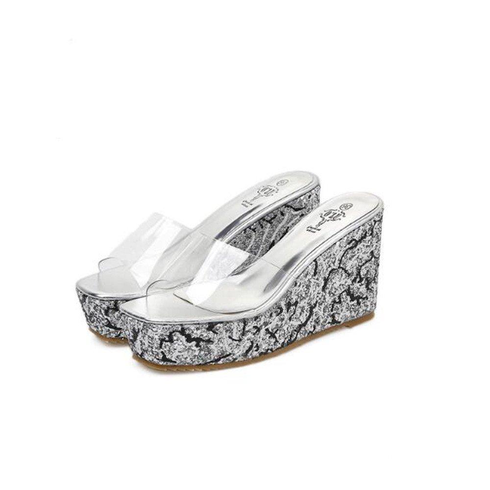 Sandalias de tacón alto de las sandalias de tacón alto de las mujeres de gran tamaño de código pequeño de la plataforma Sandalias y zapatillas tamaño 34-40 ( Color : Silvery , Size : 38 2/3 EU ) 38 2/3 EU|Silvery