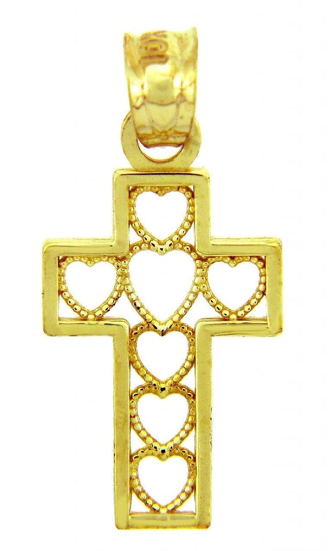 10k Yellow Gold Milgrain Open Hearts Charm Cut-Out Cross Pendant