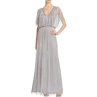 Aidan Mattox Womens Beaded Flutter Sleeves Formal Dress Gray 4 At