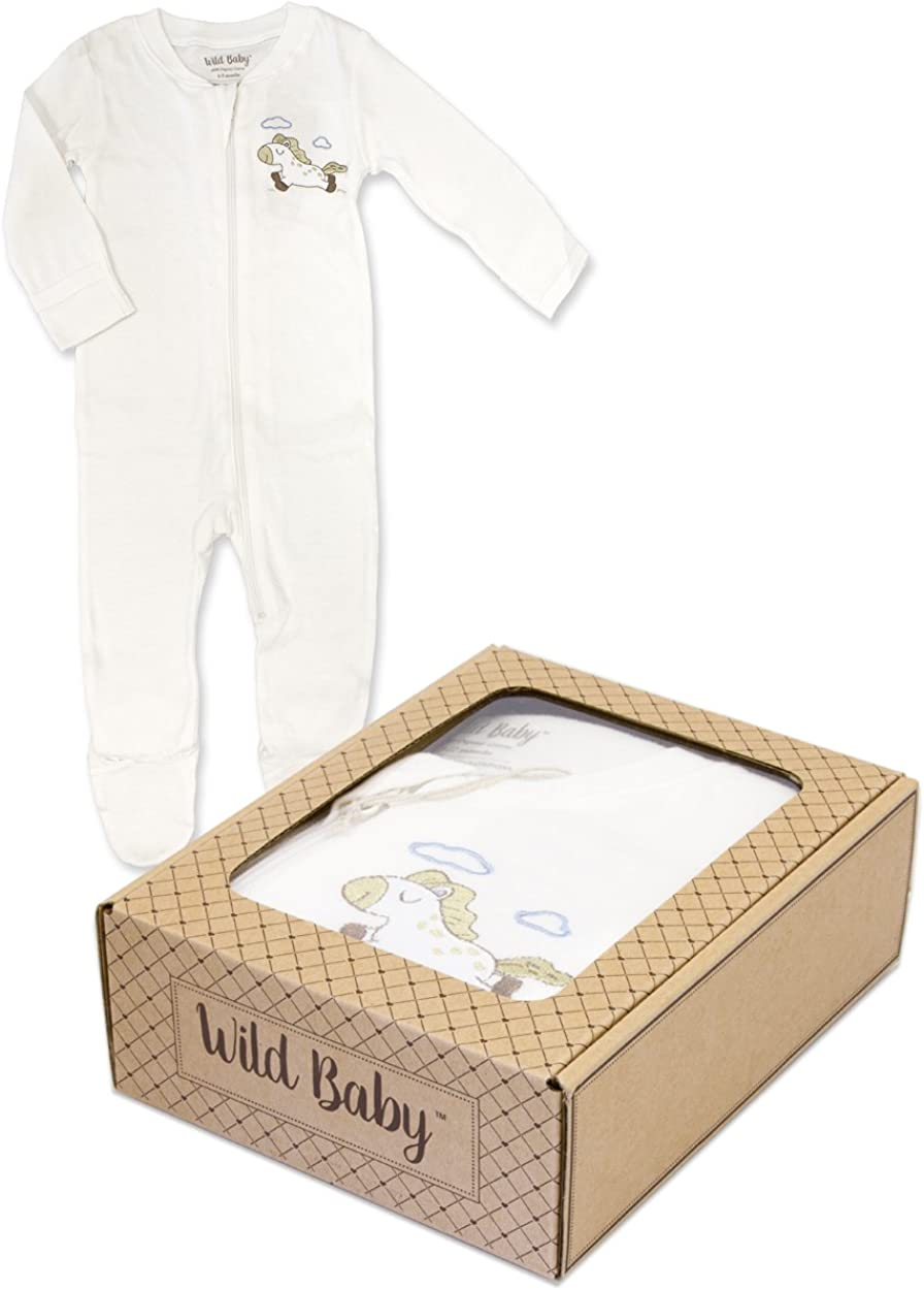 WILD BABY Organic Cotton Zippered Baby Footie with Gift Box Horse