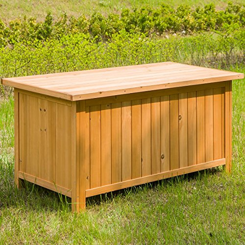 Leisure Zone Outdoor Deck Patio Storage Box with Fir Wood (46.5 Inch)