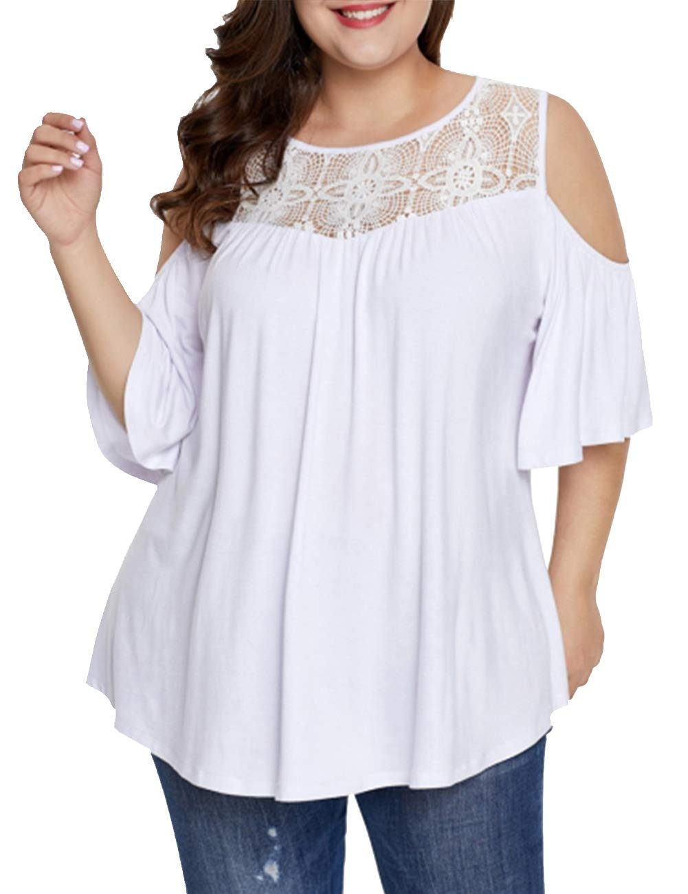 DIOLOCA Cold Shoulder Blouses for Women Plus Size Lace Tops Swing Casual Shirts Solid Color Short Sleeve White 2X