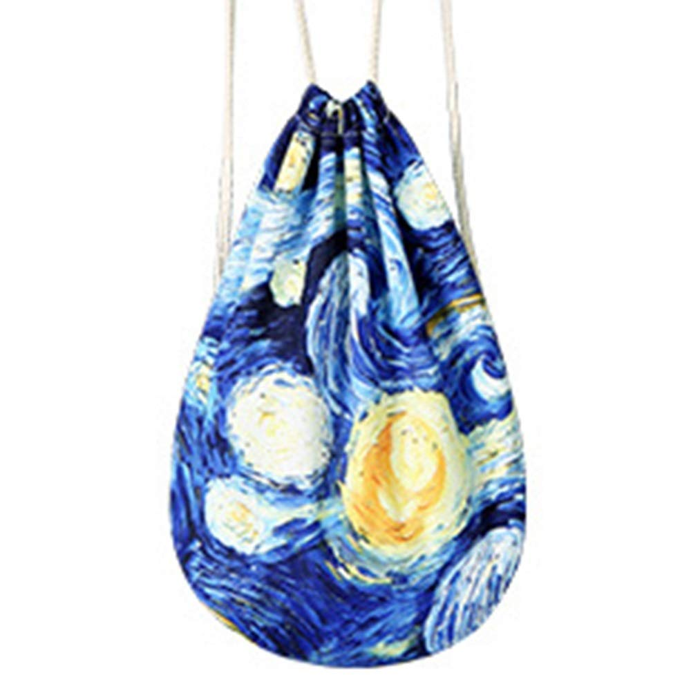 high qu Size 4436cm Beautiful TOMSSL Personality Night Pattern Backpack Drawstring Backpack Premium Polyester Reduced Breathable Yoga Bag Unisex Backpack Bundle Pocket Suitable for Fitness Shopping