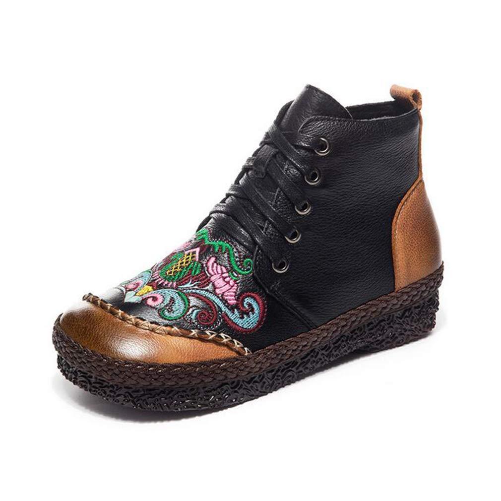Hy Damenschuhe, Leder handgefertigte Nationale Wind flach Besteickte Stiefelies, Retro warme Baumwolle Stiefel, Freizeitschuhe (Farbe   Schwarz, Größe   38)