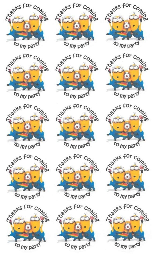 Invites etc... A4 Sheet of 15 x 50mm Round Thanks for coming to my party PARTY MINIONS Sticky Labels-Party Bag Seals