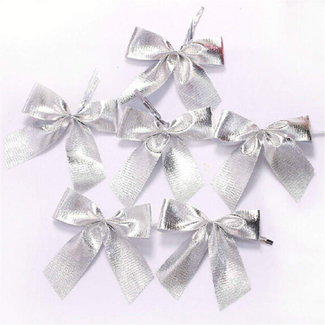 CAHEDSD 12PCS Pretty Bow Ornament Christmas Tree Decoration Festival Party Home Bowknots Baubles Baubles Year Decoration Silver