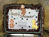 Jungle Safari Baby Shower Guest Book Bling Lace with Monkey and Giraffe Keepsake