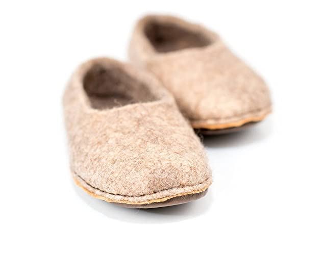 242c986119e Beige brown woolen slippers handmade from natural felted wool ...