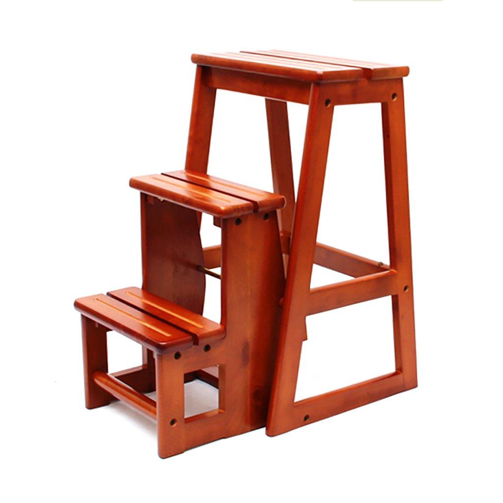 PENGFEI 折りたたみステップ多彩な 二重使用 3ステップ 無垢材 蜂蜜の色、38 * 56.5 * 64CM 脚立 踏み台ステップ チェア B0776WGNXQ