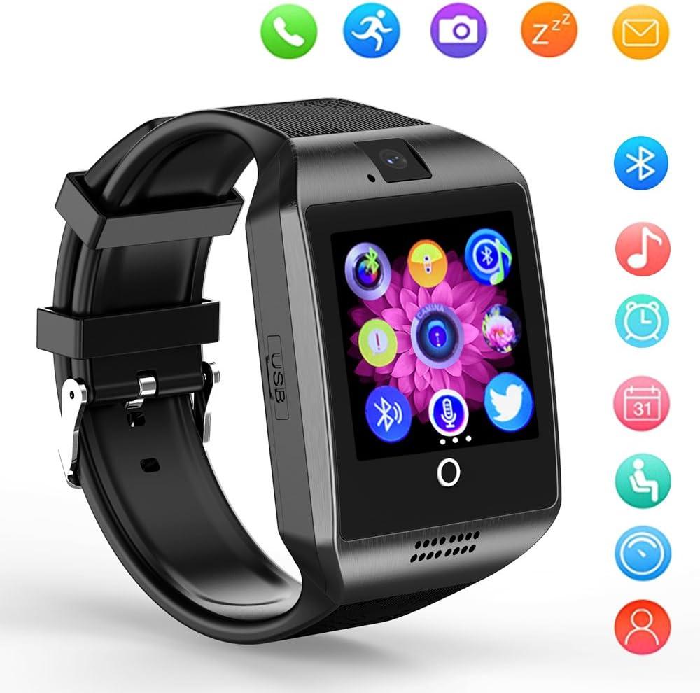 Smartwatch SHFY Q18 - Reloj Inteligente con Pantalla Táctil Bluetooth y Ranura para Tarjeta TF/SIM con Cámara para iOS, iPhone, Android, Samsung, rastreador de Actividad, Equipo de Uso