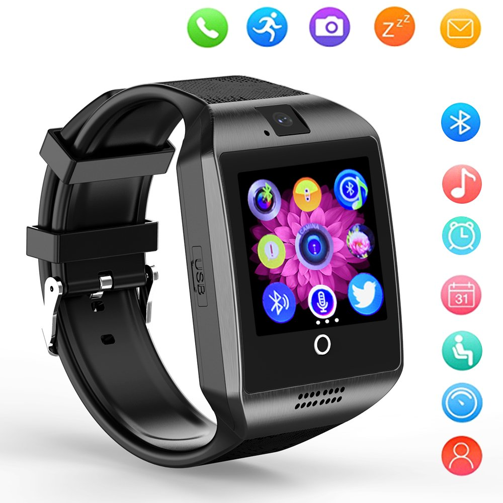 Smart Watch Bluetooth Q18 Touchscreen Wrist Watches SHFY with Camera Compatible Android Phones for Men Women (Black)