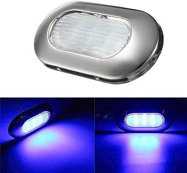 VIGORFLYRUN PARTS LTD 1pc LED Cortesía Cabina Pasarela Escalera Luz para el Cliente Cúpula Luz de Paso para 12V Barco Marino RV Interior Lámpara Exterior - Azul: Amazon.es: Coche y moto