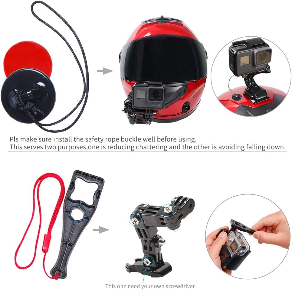 //6//5 Black,4 Session,DJI Osmo Action//YI Action Camera and More SUREWO Motorcycle Helmet Chin Mount Compatible with GoPro Hero 8//7// 2018