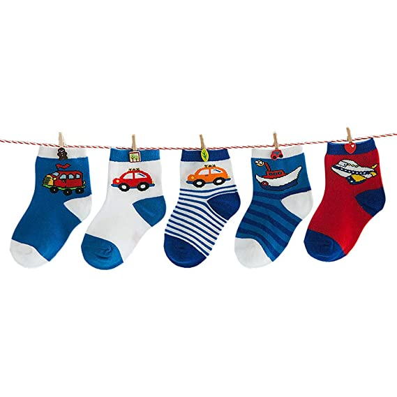 LEHOO Calcetines para niños pequeños 5 pares Calcetines de algodón para niños de 8 años de