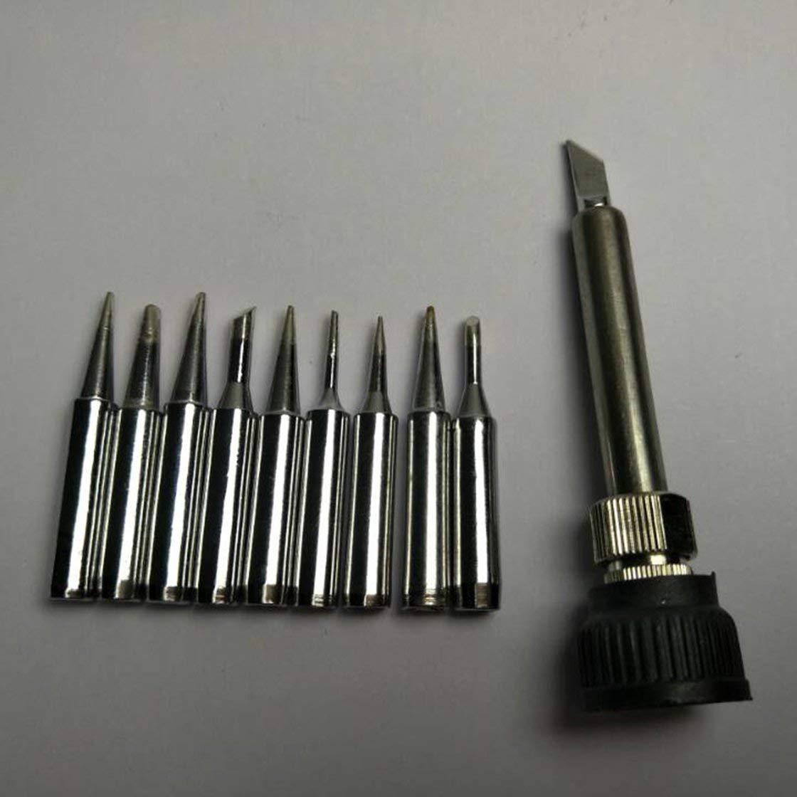 10pcs SET Punta de hierro de soldadura sin plomo 900M-T Carcasa de hierro para 936 Estaci/ón de soldadura de soldadura SAIKE ATTEN AOYUE KADA YIHUA