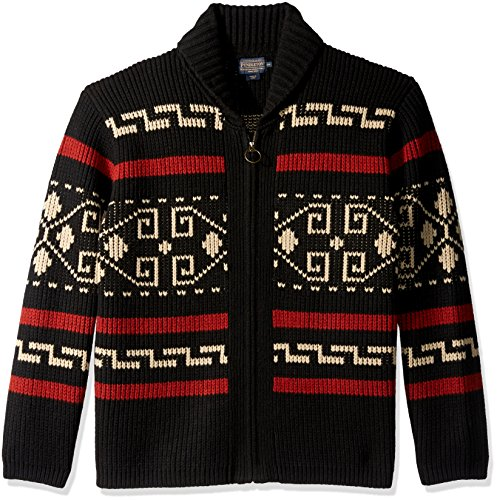 Pendleton Men's The Original Westerley Zip-up Cardigan, Black/Cream-61162, XL
