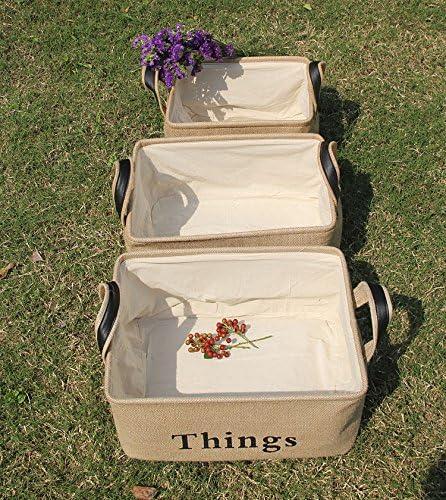 Cestas de Regalo Juguetes para Mascotas Juguetes para Ni/ños Yute Natural Plegable Organizador Caja de Almacenamiento para lavander/ía L BelleStyle Cesta de Almacenamiento Libros Ropa de Beb/é