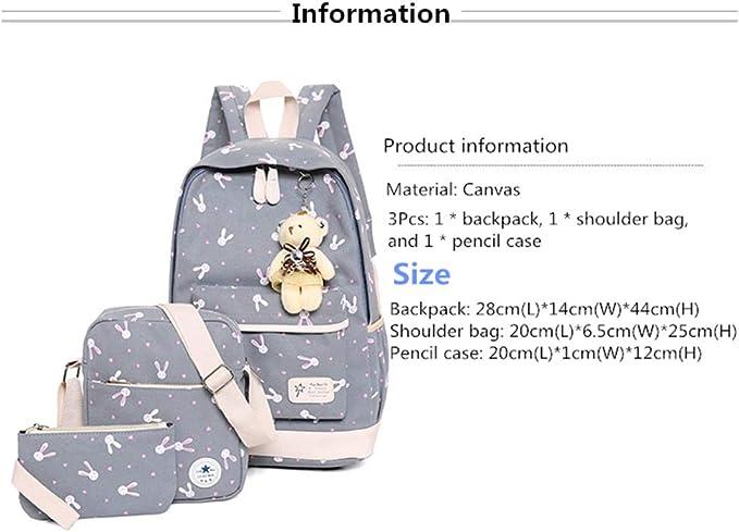 VIDOSCLA Cartoon Rabbit Prints 3Pcs Backpack Primary School Backpack Elementary BookBag Students Daypack Rucksack with Lunch Box