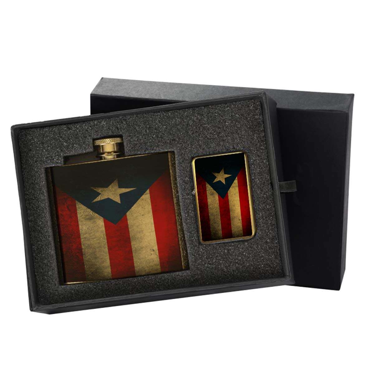 Puerto Rico Flag - Gold Lighter and Pocket Hip Liquor Flask Survival Camping Gift Box Set
