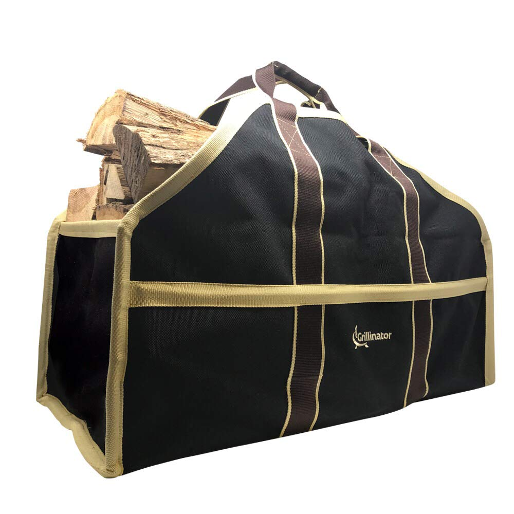 Grillinator Ultimate Firewood Log Carrier - Black - Heavy Duty Durable Tote Bag for Wood - Self Standing Design with Padded Handles - 16 Gallon Capacity for Fireplace, Beach & Groceries by Grillinator