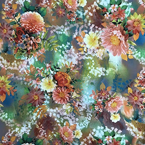 Amornphan 44 Inches Multicolor Botanical Floral Pattern Many Kind Flowers Garden Peach Tone Messi Crepe Silk Chiffon Fabric Italian Design Dress Skirt Cloth Craft by The Yard (Peach)