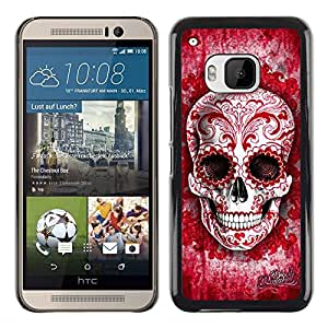 Shell-Star Arte & diseño plástico duro Fundas Cover Cubre Hard Case Cover para HTC One M9 ( Red Blood Love Floral Ink Skull Tattoo )