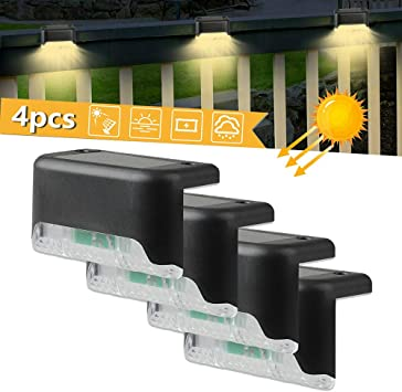 HY 4Pcs Solar LED Deck Light Lámpara de Escalera Landscape Courtyard Impermeable Solar Light Wall Fence Lámparas para Exteriores Pathway Yard Patio Escaleras: Amazon.es: Deportes y aire libre