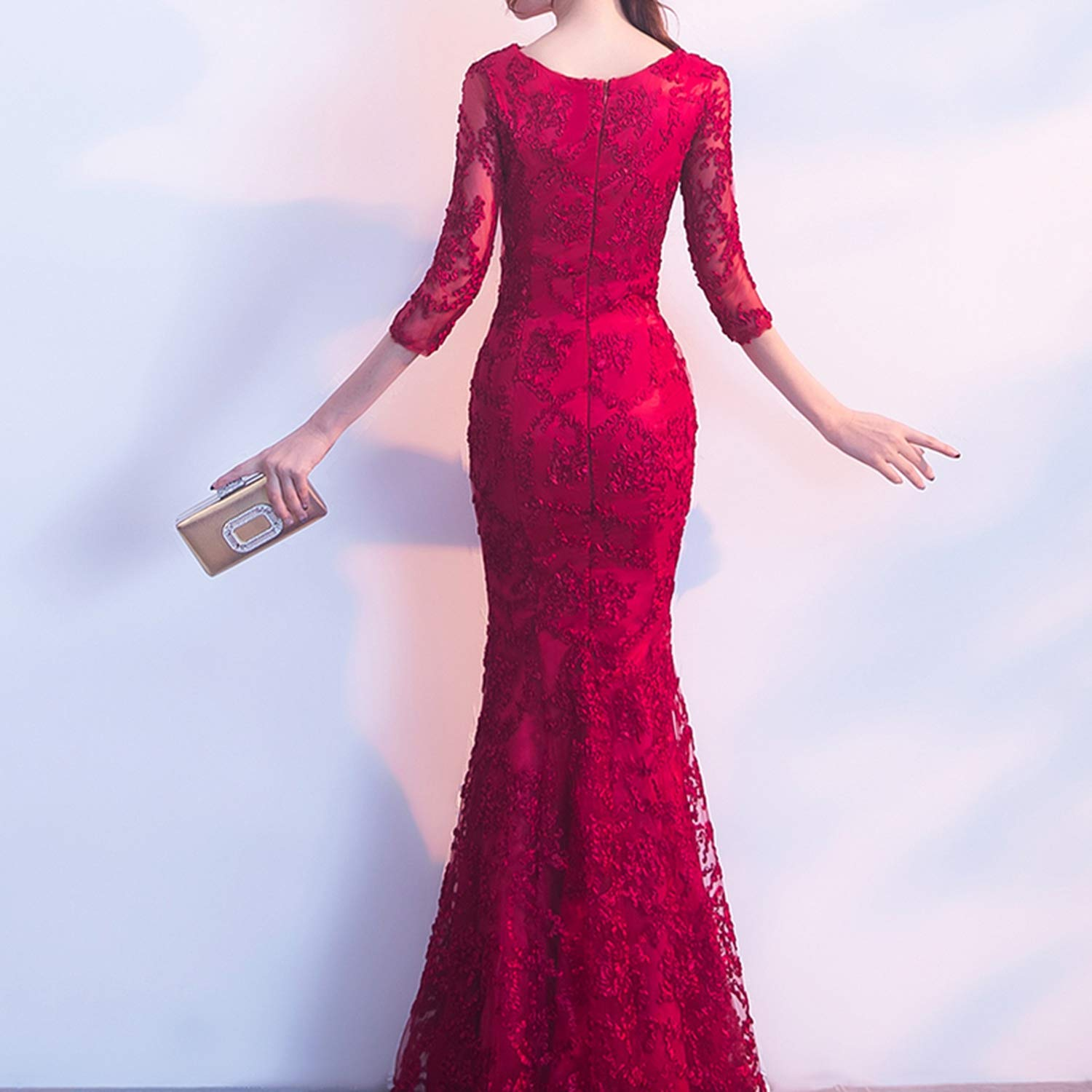 Long Formal Sleeve Evening Dresses Color Vestido Party Evens Gowns,red,16W,Floor Length