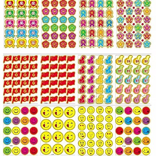 10 Sheets Star/Flower/Emoji Kids Sticker Scrapbooking Incentive Stickers Wholesale for Toddler Girls and Boys Encouragement (Halloween Art Projects Grade 4)