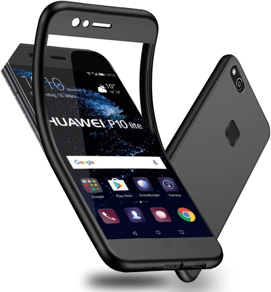 Huawei P10 Lite Funda, WindCase Soft Anti-rasguños Mate TPU Carcasa 360 Grados + Protector de Pantalla de Vidrio Templado para Huawei P10 Lite Negro: Amazon.es: Electrónica
