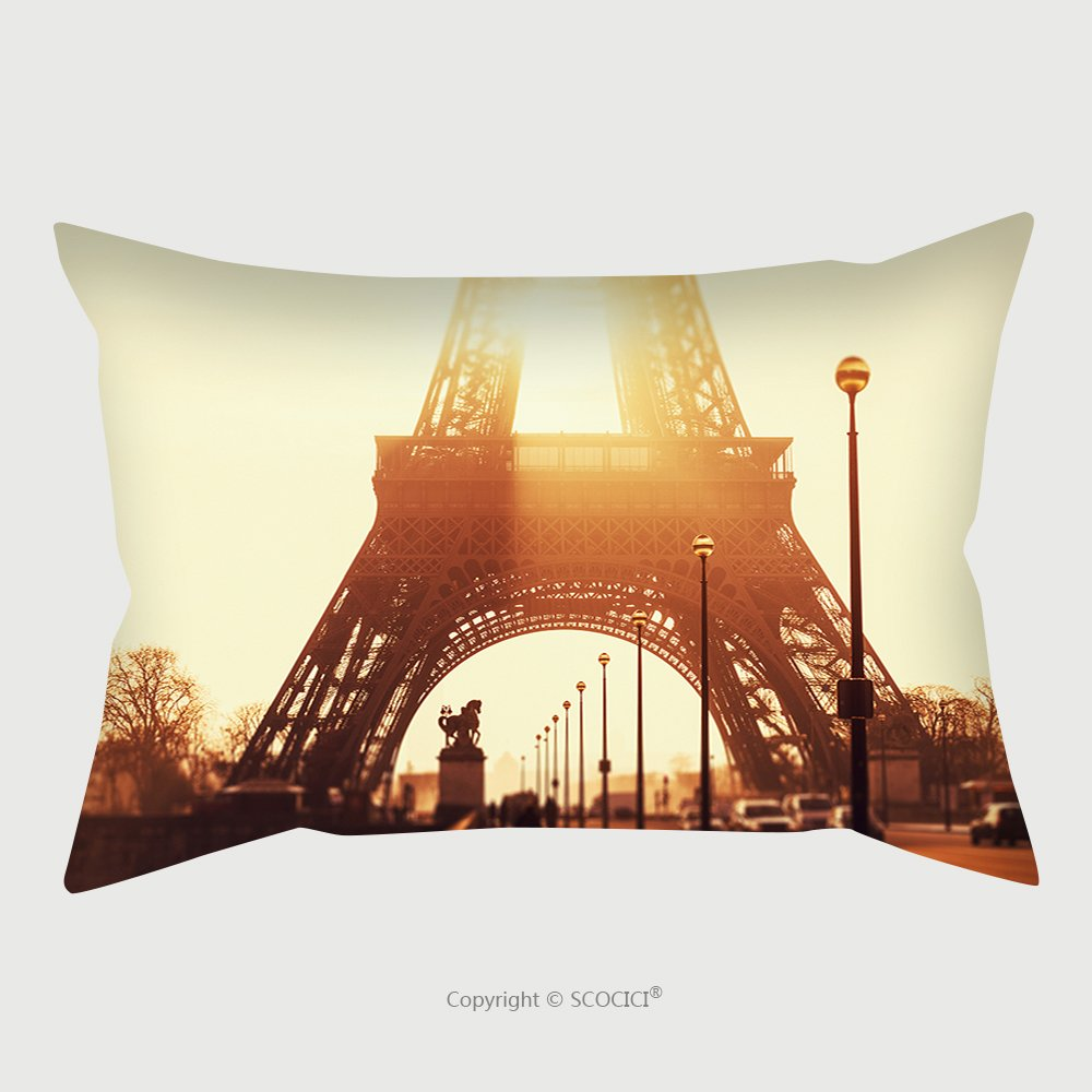 Custom Satin Pillowcase Protector Tour Eiffel At Sunset_175730338 Pillow Case Covers Decorative by chaoran