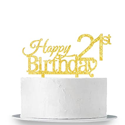 Image Unavailable Not Available For Color INNORU Happy 21st Birthday Cake Topper
