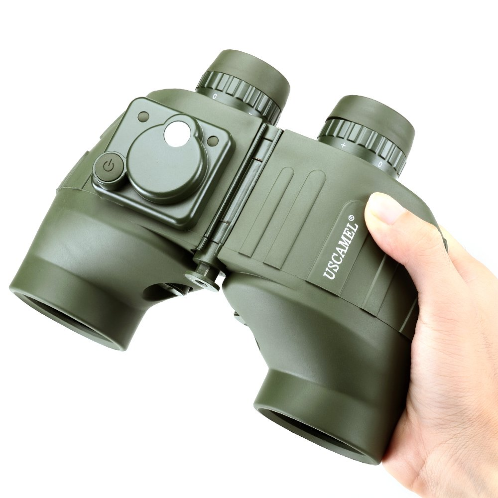 USCAMEL 7x50 Binoculars, Waterproof Anti-fog Rangefinder Compass, Military Hunting, Military Green by USCAMEL