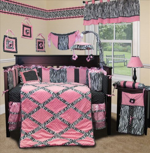 - SISI Baby Bedding - Pink Minky Zebra 13 PCS Crib Bedding