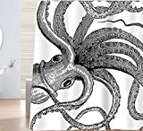 Designer Shower Curtains Sunlit Designer Kraken Ocean Theme Giant Octopus Tentacles Fabric Shower Curtain Mythical Nautical Sea Monster Marine Life Abstract Illustration Monochrome Black and White