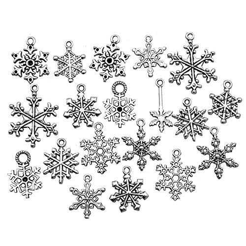 Snowflake Charm-100g (about 80-90pcs) Antique Silver Christmas Snowflake Charms Pendants for Crafting, Jewelry Findings Making Accessory For DIY Necklace Bracelet HK27 (Snowflake Collection) -