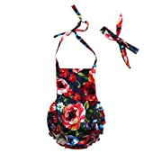 Baby Girl Bodysuit Infant Kids Floral Romper Princess Sleeveless Backless Halter Jumpsuit + Headdress Outfits 2Pcs Sunsuit (0-24 Months, Red) -Bamboogrow (0-6 Months)