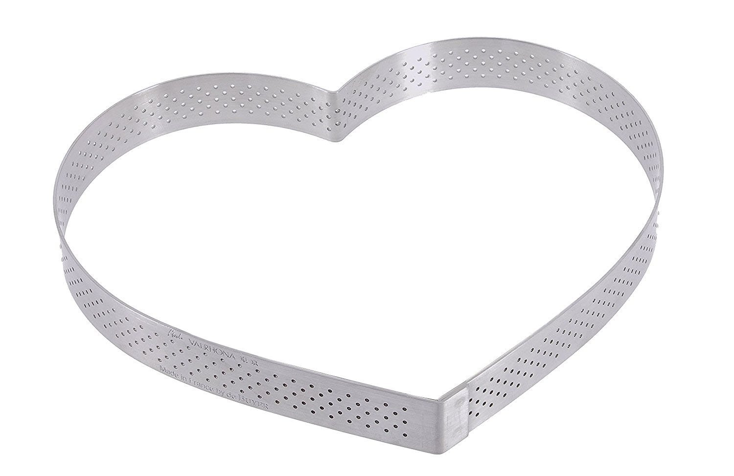PERFORATED TART RING, Heart, in Stainless Steel, 0.75-Inch high O 8.75-Inch