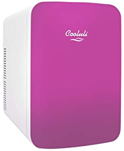 Cooluli Infinity Pink 15 Liter Compact Portable Cooler Warmer Mini Fridge for Bedroom, Office, Dorm, Car - Great for Skincare & Cosmetics (110-240V/12V)