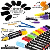 Cedar Markers Liquid Chalk Markers - 12 Pack with Free 40 Chalkboard Labels - Neon Color Pens Including Gold and Silver Ink. Reversible Bullet and Chisel Tip and A Brand New Revolutionary Cap.