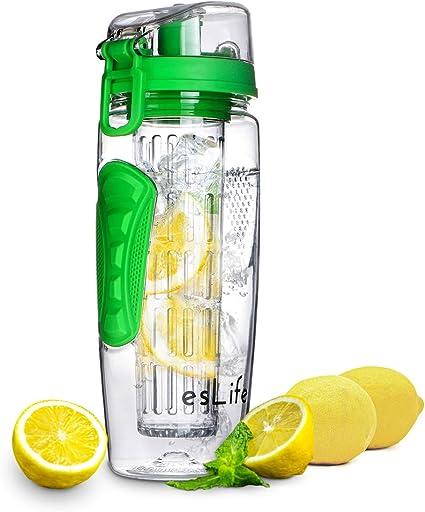 esLife Fruit Water Bottle 32 OZ Black Fruit Infuser Sports Water Bottle BPA Free Tritan Plastic esLife 32 OZ Sports Water Bottle BPA Free Tritan Plastic