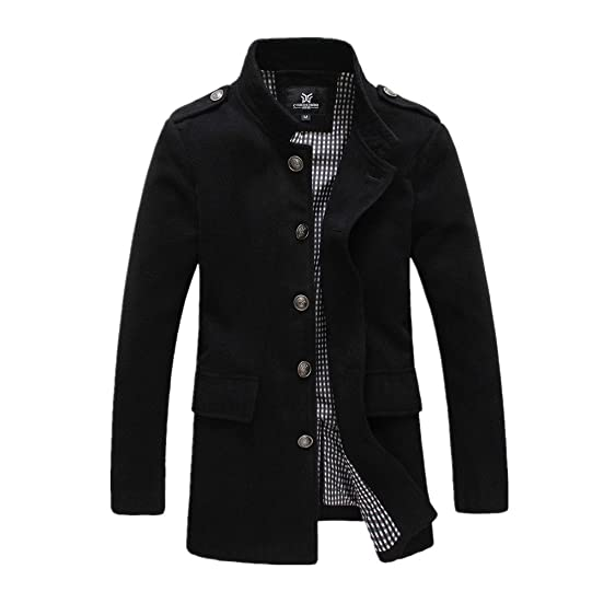 Men Stand Collar Slim Fitted Pea Coats Outwear Wool Blends Duffle ...