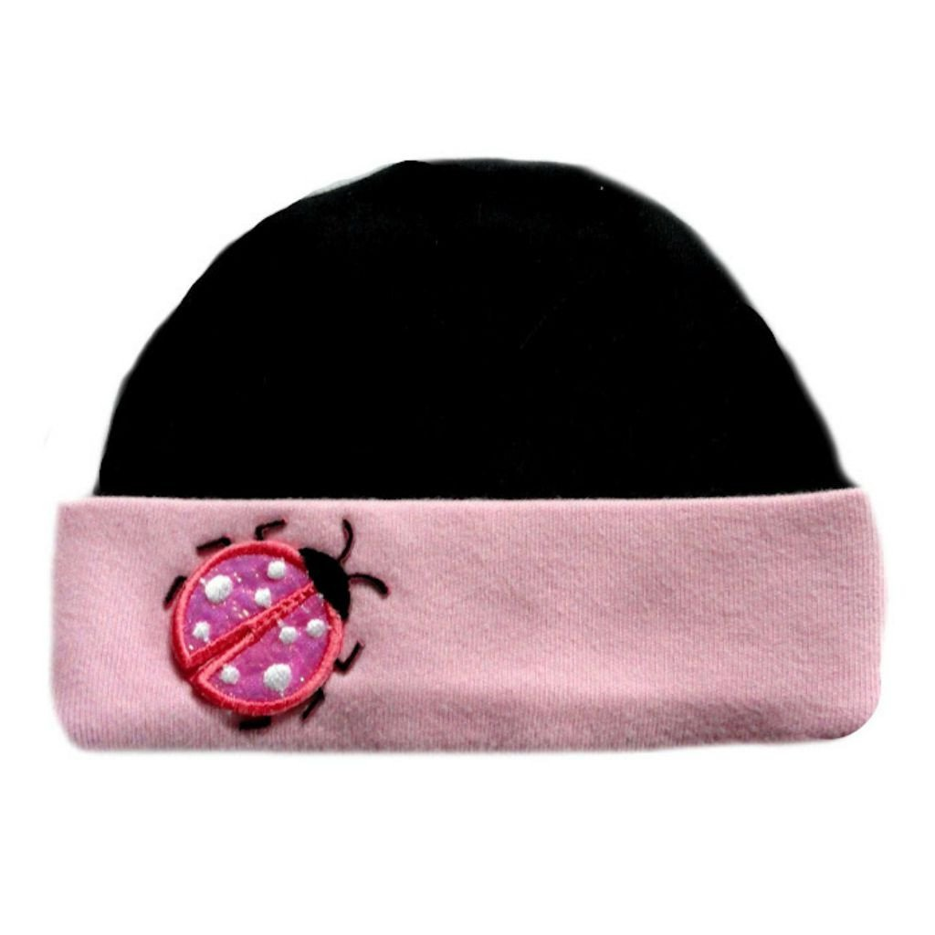 Jacquis Baby Girls Black and Pink Ladybug Hat