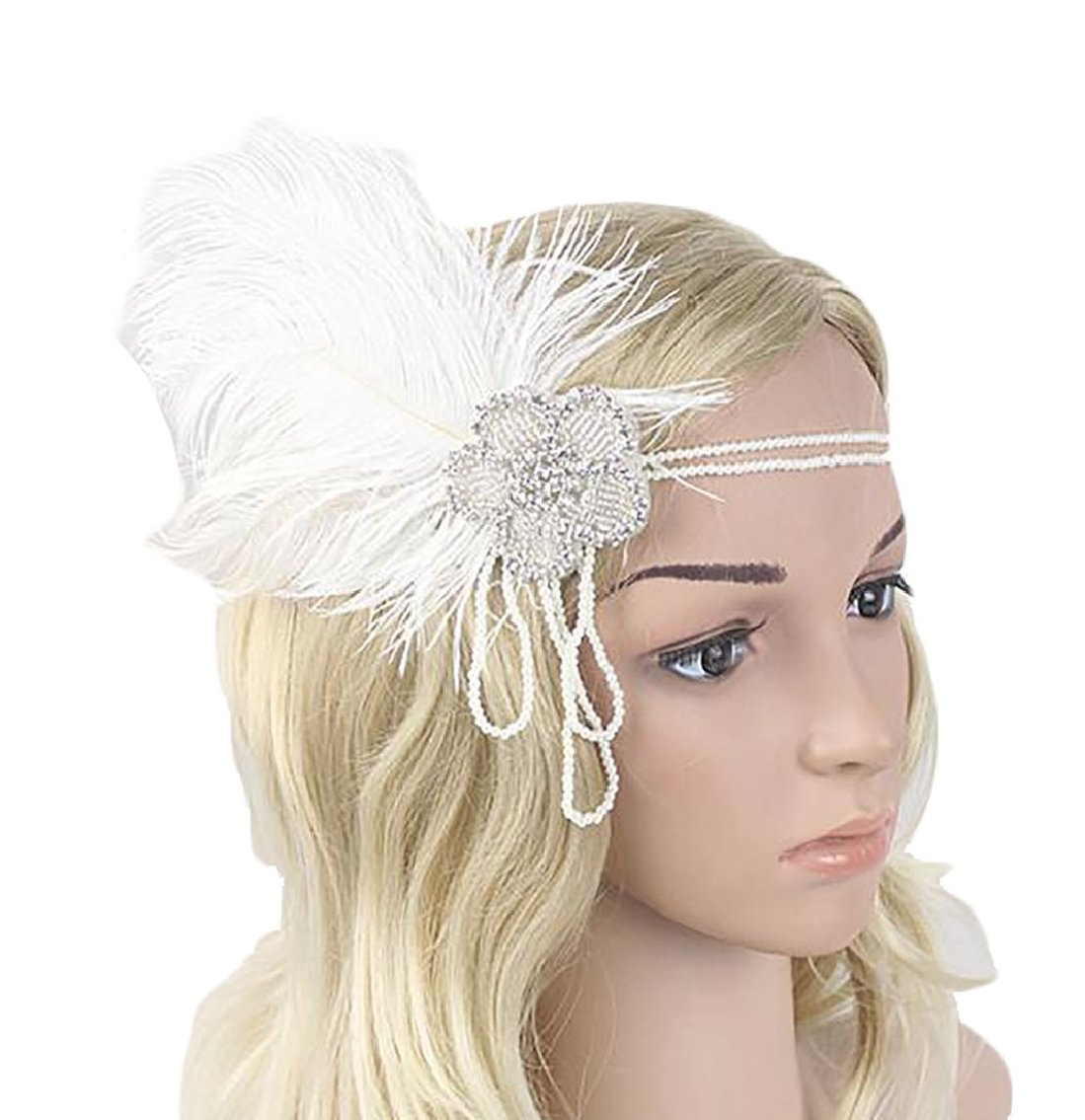 Qiangjinjiu Womens 1920s Flapper Beaded Stylish Headband 20s Feather Headpiece White OS