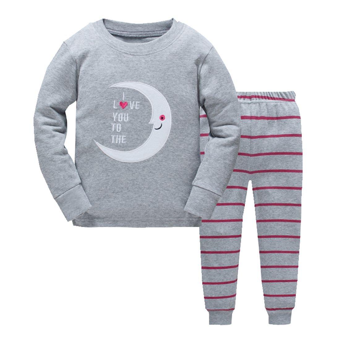 efa8b23b7 Amazon.com  Boys Pajamas Rib Long Sleeves Toddler Clothes Moon Kid ...