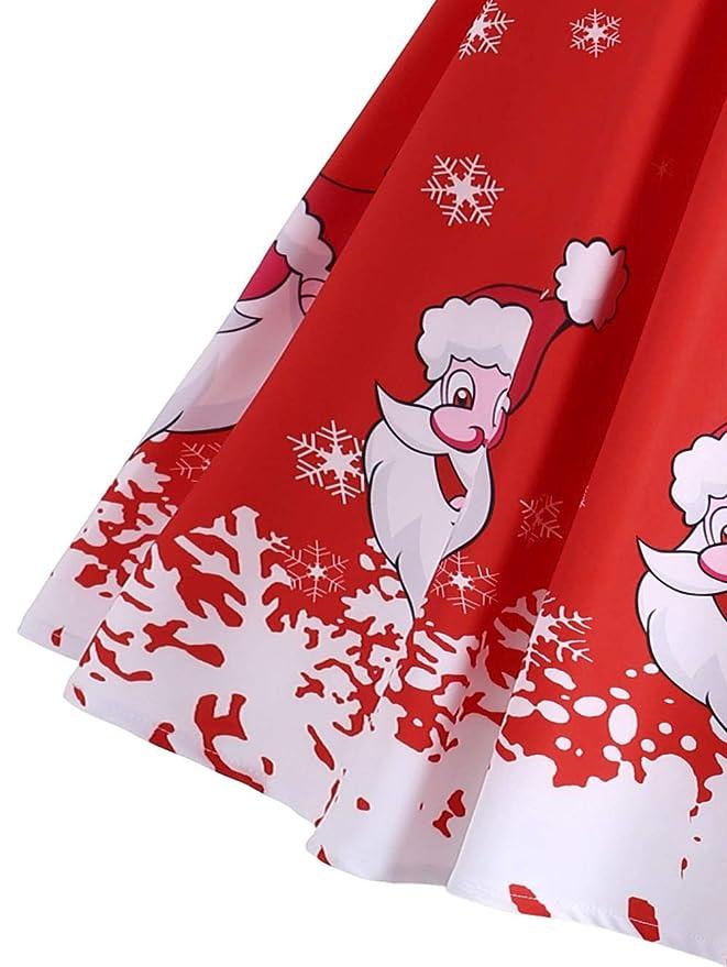 ZODOF Vestido de Mujer, 2019 Vestido Corto con Escote Manga Larga con Estampado Vintage de Fiesta de Noche de Navidad para Mujer Larga de Invierno Vestido ...