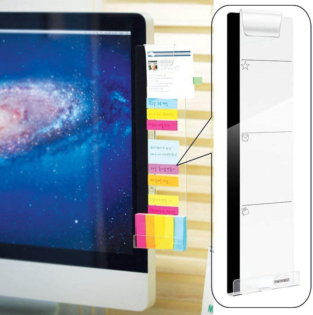Monitor Memo Board - Monitor Sticky Note Holder, Acrylic Concise Message Memo Panel for Screen Phone Holder (Right) (Large)