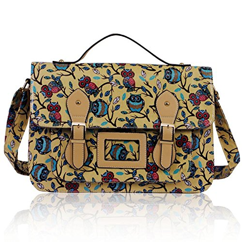 Ladies Owl Tree Print Satchel Messenger Handbag (38cm X 27.5cm)