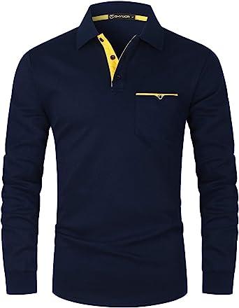 GHYUGR Herren Poloshirt Langarm Kontrast Tasche Polohemd T-Shirt Basic Polo S-2XL